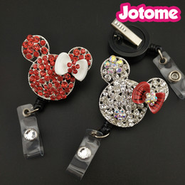 Wholesale Indian Names - 50PCS Lot Choose Color First, Mini Mouse Rhinestone Pendant Nurse Medical Gift Retractable ID Name Badge Reel Holder
