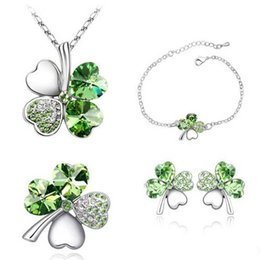 Wholesale Green Leaf Clover Pendant - Four Leaf Clover Necklaces Pendants bracelet earring stud brooch Heart Crystal jewelry sets Vintage Fashion Jewelry For wedding