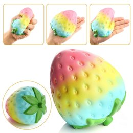 Wholesale Colorful Phones - New Squishy 11.5*9.5CM Super Slow Rising Kawaii Rainbow Strawberry Colorful Bread Charm Phone Straps Soft Fruit Kids Toys