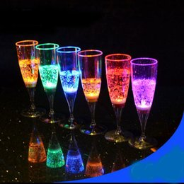 Wholesale Led Light Beer Mugs - Colorful LED Light Flashing Cup Beer bar Mug Drink Cup LED Champagne Plastic Inductive Color Cup Goblet for Party   Wedding