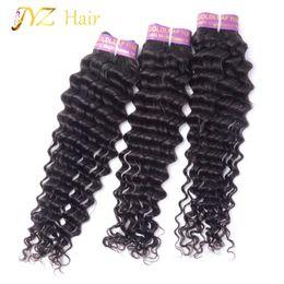 Wholesale Cheap Quality Hair Weave - JYZ Great Quality Brazilian Deep Wave Virgin Hair 100% Malaysian Human Hair Weave 3 Bundle Cheap Peruvian Curly Virgin Hair