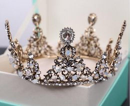 Wholesale Tiaras Colorful - Vintage Colorful Baroque Bridal Accessories Rhinestone Crystal Luxurious Handmade Wedding Headpieces New Arrival Europe Wedding Crown