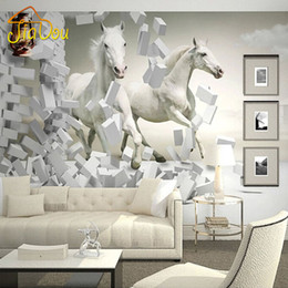 Wholesale Tv Backdrop Wall - Wholesale- Home Improvement Custom 3D Wall Murals Wallpaper White Horse Living Room Sofa TV Backdrop Wallapper For Walls Contact Paper 3D