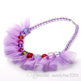 Wholesale Girls Necklace Children - 5 Colors Kids Girls Crystal Necklace 2017 New Fashion Baby Girls Tulle Necklace Infant Princess Jewelry Newborn Children Accessories S613