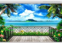 Wholesale Wallpaper Tv Setting - Wholesale-Custom 3d wallpaper murals 3 d fantasy balcony beach seascape TV setting wall wallpaper