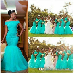 Wholesale Turquoise Beach Dresses - 2017 Cheap Mermaid Turquoise Bridesmaid Dresses African Off Shoulder Long Beach Vintage Wedding Guest Gowns Lace Party Maid Of Honor Dress