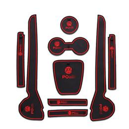 Wholesale Volkswagen Auto Accessories - For Volkswagen 2011-2016 Polo PVC rubber door gate slot pad mat tank gasket cup holder mat pad auto accessories 3color luminous 9pcs set
