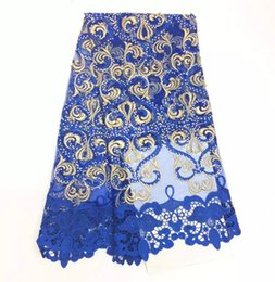 Wholesale French Weaving - Blue Lace Fabric 2017 Fashion Beautiful Elegant African French Lace Fabric High Quality Nigerian Lace Fabrics JSDSR-18