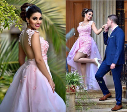 purple removable skirt dress Coupons - 2019 Flower Crystal Light Pink High Low Removable Skirt evening dresses With Long Detachable Train 3D floral occasion prom gowns
