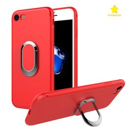 Wholesale Iphone Finger Ring Case - Ring Car Holder Phone Case Magnetic Bracket Mobile Case Soft TPU Shockproof Finger Ring Kickstand Case for iPhone 7 Plus iPhone 6