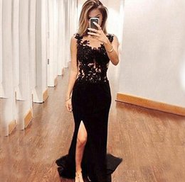 Wholesale Fast Delivery Prom Dresses - Free Shipping Prom Dresses Scoop neck Appliques Side Split vestidos de noiva Evening Gowns Fast Delivery