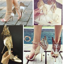 Wholesale Wing Toe High Heels - Fashion Wedding Party Womens Shoes Open Toes Shoes Summer Sandals Party Graduation High Heels Shoe Buckle Strap Heel 10 cm Butterfly Wings