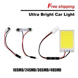 Wholesale Map Cool - 4pcs Car styling White 16 24 36 48 COB LED Dome Map Light Bulb Car Interior Panel Lamp 12V include Lamp Base T10 BA9S Festoon