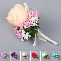 Wholesale Wholesale Single Roses - Hot Sale Bridesmaid Rose Silk Corsage Gentleman Rose Boutonniere Artificia Wedding Bouquets Groom Groomsman Bouquet Silk Flower JM0180