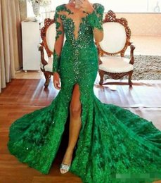 Wholesale African Red Coral Beads - Green African Long Sleeves Evening Dresses Scoop Sheer Neckline Beads Illusion Mermaid Prom Dress Long Front Split Vestidos Formal Dress