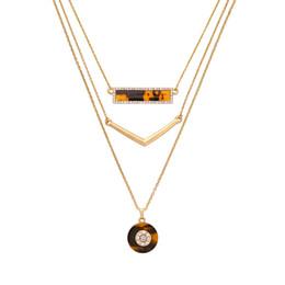 Wholesale Gold Necklace Patterns Women - Multilayer Chain Jewelry Pendant Necklace Geometric Leopard Pattern Fashion Decoration Pretty Crystal Detachable Necklace Women Accessories