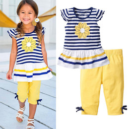 baby clothes set Coupons - Wholesale- 2016 New Girls Clothing Sets Baby Kids Clothes Suit Children Short Sleeve Striped T-Shirt +Pants children clothing set