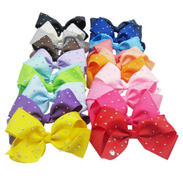 Wholesale Kids School Dress - JOJO Rhinestone Hair Bow With Clip For School Baby Children Pastel Bow Kids Hair Accessories Birthday Party Dressing Up DIY 20 Colors