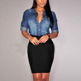 Wholesale Jean Woman Shirts - 2016 New Women Lapel Button Blue Down Denim Jean Shirts Pocket Slim Top Blouse Coat