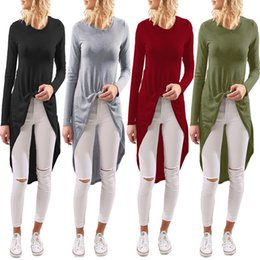 Wholesale Cheap Long Tunic - Women's Casual Long Sleeve High Low Hi-lo Hem T-shirts Tunic Solid Blouse Henley Pullover Top 4 Color S-XL Wholesale Cheap DHL Fast Shipping