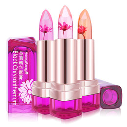Wholesale Color Changing Flowers - Temperature Change Color Lip Balm Waterproof Long Lasting Sweet Transparent Jelly Flower Pink Moisturizer Lipstick 3 Flavor 3pcs