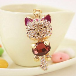 Wholesale Lucky Cat Car - Lucky Smile Cat Crystal Rhinestone Keyrings Key Chains Holder Purse Bag For Car christmas Gift Keychains Jewelry llaveros