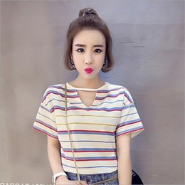 Wholesale Hot Press Shirts - 2017 summer women's wear new leisure round collar hot printing press a thin open square stripe T-shirt shirt short sleeve shirt