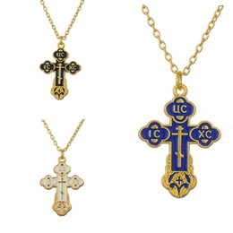 Wholesale Neckless Man - Wholesale-Russian slavic pendant Orthodox Eastern Church Female Male cross Hotset necklace men chain Christian Hot Sale jewelry Neckless