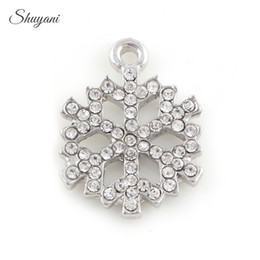 Wholesale Jewelry Making Snowflake - Christmas Series Snowflake Charms Pendant fit DIY Bracelet Locket Necklaces Jewelry Making 19*15mm Silver Gold Plated