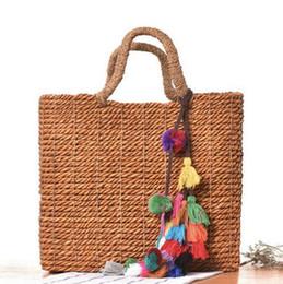 Wholesale Weave Bulk Sale - factory sales department are hand woven bags forest fringed beach bag simple bulk hair ball beach bag summer travel bag woven straw