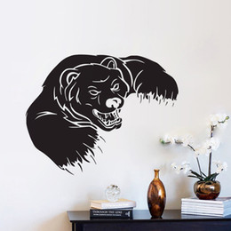 Wholesale Black Bear Small Wall Decal - Animals Wall Stickers Grizzly Bear Wall Decor PVC Stickers For Children Beadroom Wall Decals Removable Nursery Art Mural