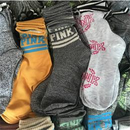 Wholesale Knee Socks For Women - VS Pink Letter Women Socks Casual Sports Knee Highs Cotton Stockings Free Size Autumn Winter sock Lovely Pink Sexy Socks for Lady Girls New