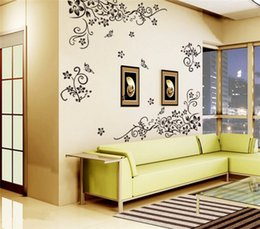Wholesale Black Flowers Wall Stickers - Hot DIY Wall Art Decal Decoration Fashion Romantic Black Flower Wall Sticker  Wall Stickers Home Decor 3D Wallpaper Factory Wholesale