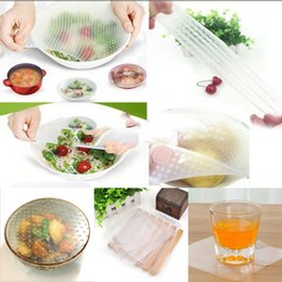 Wholesale Reusable Covers - New 4pcs Multifunctional Food Fresh Keeping Saran Wrap Kitchen Tools Reusable Silicone Food Wraps Seal Cover Stretch