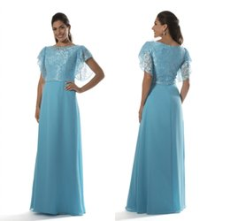 d989734238b Blue Long Modest Bridesmaid Dresses 2017 With Flutter Sleeves Jewel Lace  Bodice Chiffon A-line Evening Maids of Honor Dress New Country discount  flutter ...