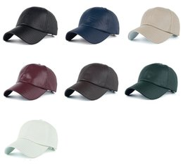 Wholesale Wholesale Lighted Baseball Caps - HIP HOP DIY Blank PU Hats Adjustable Light version of the classic tunnel PU baseball cap visor cap B357