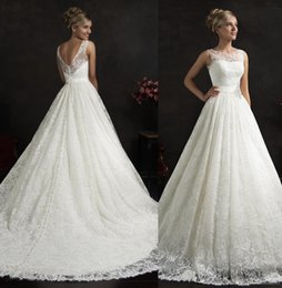 Wholesale Lace Straps Sleeves - 2017 Stunning Full Lace Wedding Dresses Scoop Neck With Cap Sleeves Sashes White Tulle Appliques Wedding A-Line Beading Bridal Dresses