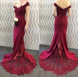 Wholesale Mermaid Satin Ball Gown - Burgundy Cheap Mermaid Prom Dresses 2017 Off the Shoulder Lace Satin Covered Buttons Long Backless Evening Dresses Red Carpet Party Gowns