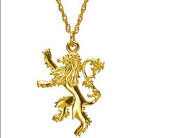 Wholesale Statement Necklace Lion - 2016 Hot Movie Jewelry Song Of Ice and Fire Game Of Thrones Lannister Two-sided Lion Alloy Badge Pendant Necklace Statement Necklace Jewelry