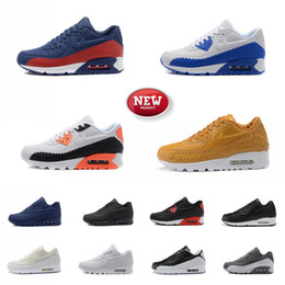 Wholesale Red Light Platinum - [With Box] 2017 New Men 90 Woven Running Shoes Pure Platinum White Phantom Soft Air Cushion Sports Trainers Sneakers 13 Color 40-46