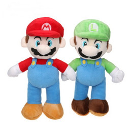 Wholesale Mario Plush Figure - New mario brother plush toy doll for child's gift red green hat no18
