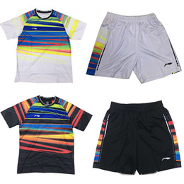 Wholesale Tennis Clothes For Men - 2017 new Li-Ning badminton wear t-shirt sets,tenis shirt clothes for men,table tennis jerseys +shorts,tennis shirt train clothing AAYM067