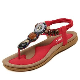 Wholesale Leather Band Beads - Free Shipping 2017 Women Sandals Bohemia Beads Summer Sandals New Fashion Flat Women Shoes Wild Casual Shoes