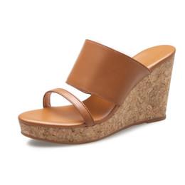 Wholesale Super High Platform Wedges - KSJYWQ Summer Style Women Slippers 9 CM Super high heels Open-toe Mules Fashion Wedges Sexy Platform Sandals Box Packing D152