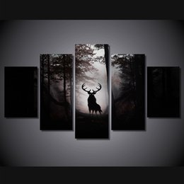 Wholesale Canvas Oil Painting Landscape Forest - 5 Pcs Set Framed HD Printed Deer Forest Animal Picture Art Canvas Print Room Decor Poster Canvas Oil Painting