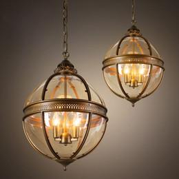Wholesale Modern Chandeliers Gold Metal - Vintage Globe Chandeliers 3 Lights E14 Transparent Glass Metal Painting Loft Chandeliers for Living Dinning Room