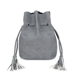 Wholesale Ethnic Crosses - Wholesale-2015 new leather small bucket bag woman crossbody bag fringe purses and handbag retro ethnic lady shoulder bag sac femme vintage