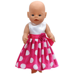 Wholesale Wholesale Preppy Accessories - Baby Born Doll Clothes White Dot Red Dress Fit 43cm Zapf Baby Born Doll Accessories Birthday Gift X-124 Girls toys