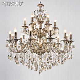 Wholesale luxury crystal lighting fixtures - Modern Luxury Crystal Chandelier Light Fixture Brass Pendant Lampara de techo Dining room Living room Lighting MD8701 18 Lights