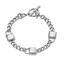 Wholesale Padlock Clasp - New York Fashion Brand High quality 3 padlock charm bracelets brand jewelry for men women silver gold free shipping